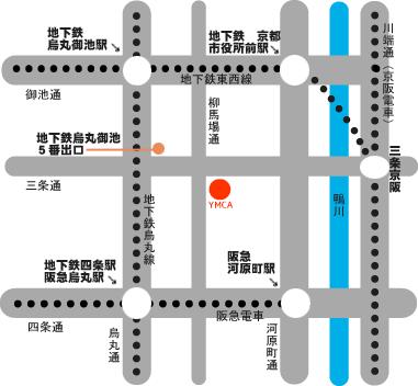 京都YMCA三条本館地図